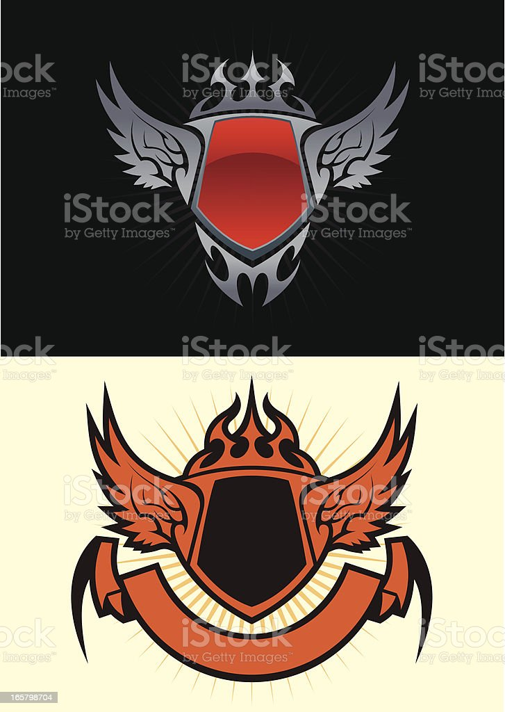 Shields and wings royalty-free stock vector art