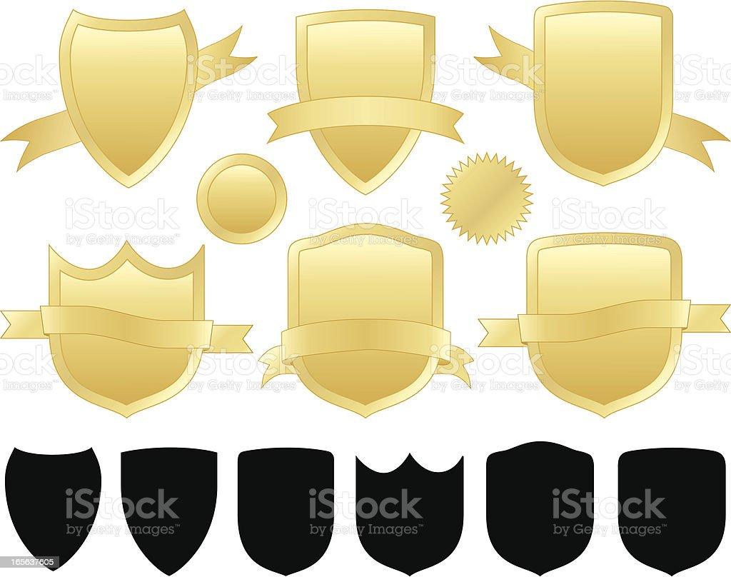 Shields Set - Gold royalty-free stock vector art