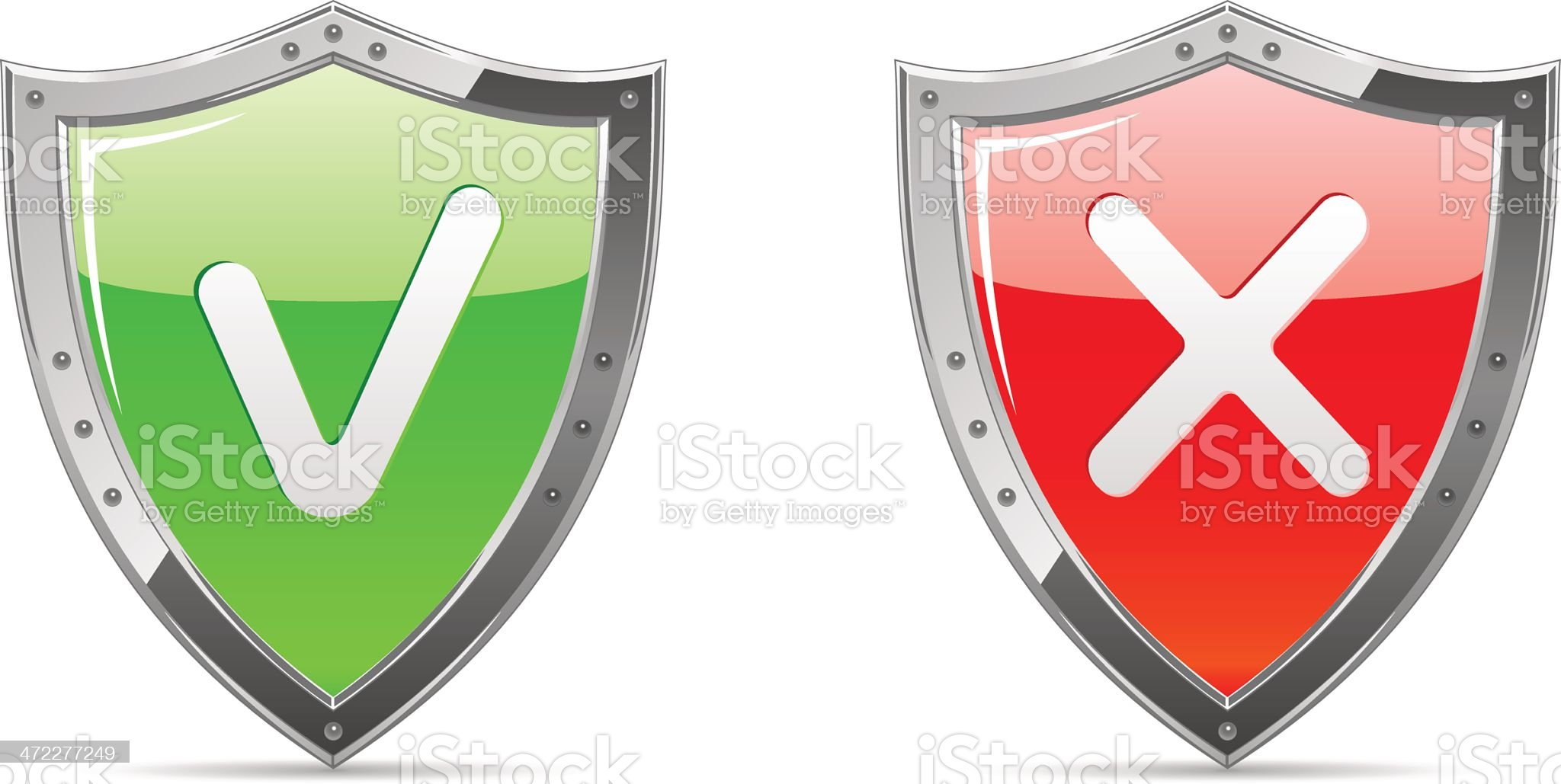 Shields with Check Marks royalty-free stock vector art