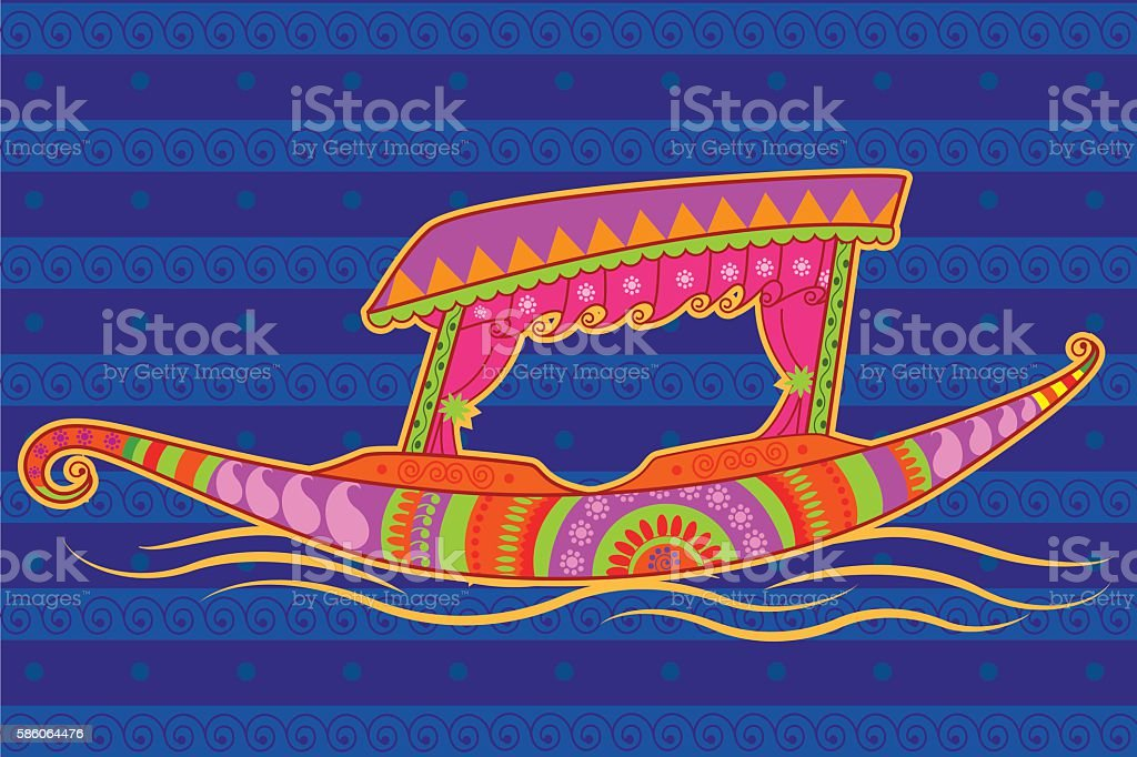 Shikara boat in Indian art style vector art illustration