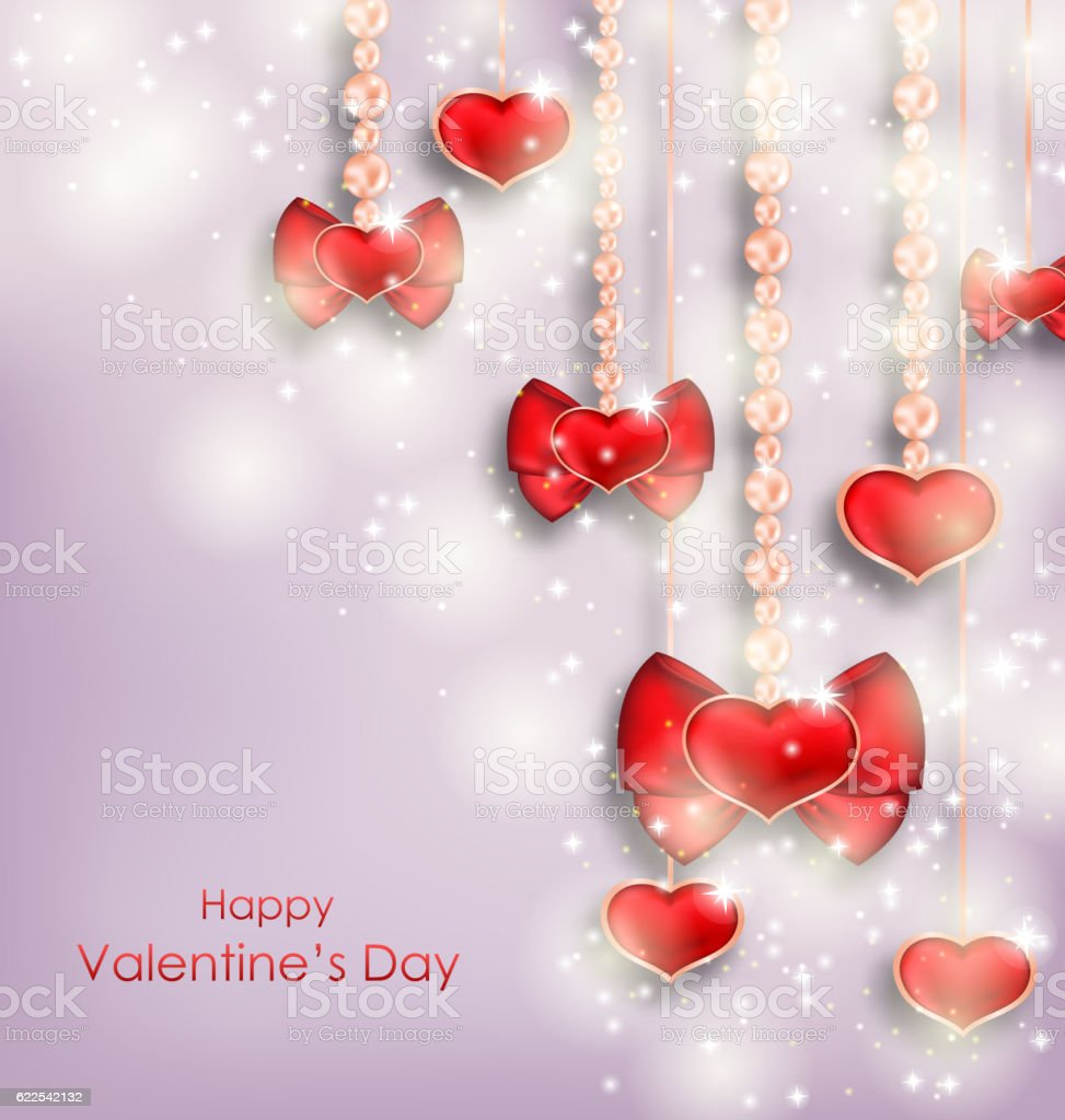 Shimmering Background with Hanging Hearts for Valentines Day vector art illustration