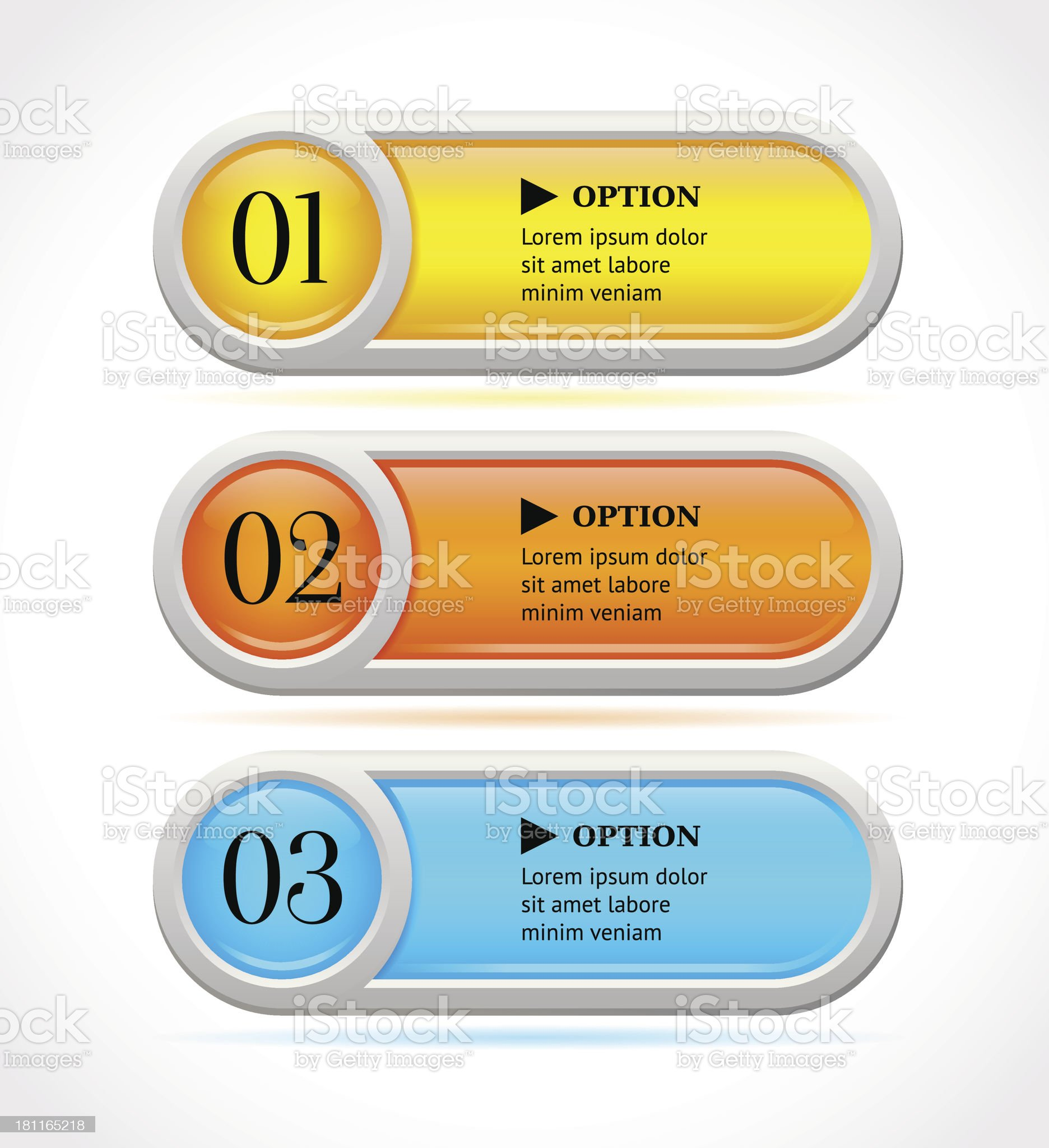 Shine horizontal colorful options buttons royalty-free stock vector art
