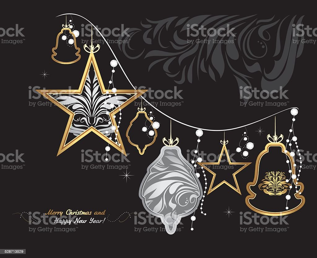 Shining Christmas garland on black background. Greeting card vector art illustration