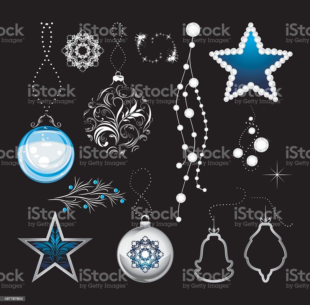Shining Christmas toys isolated on a black background vector art illustration