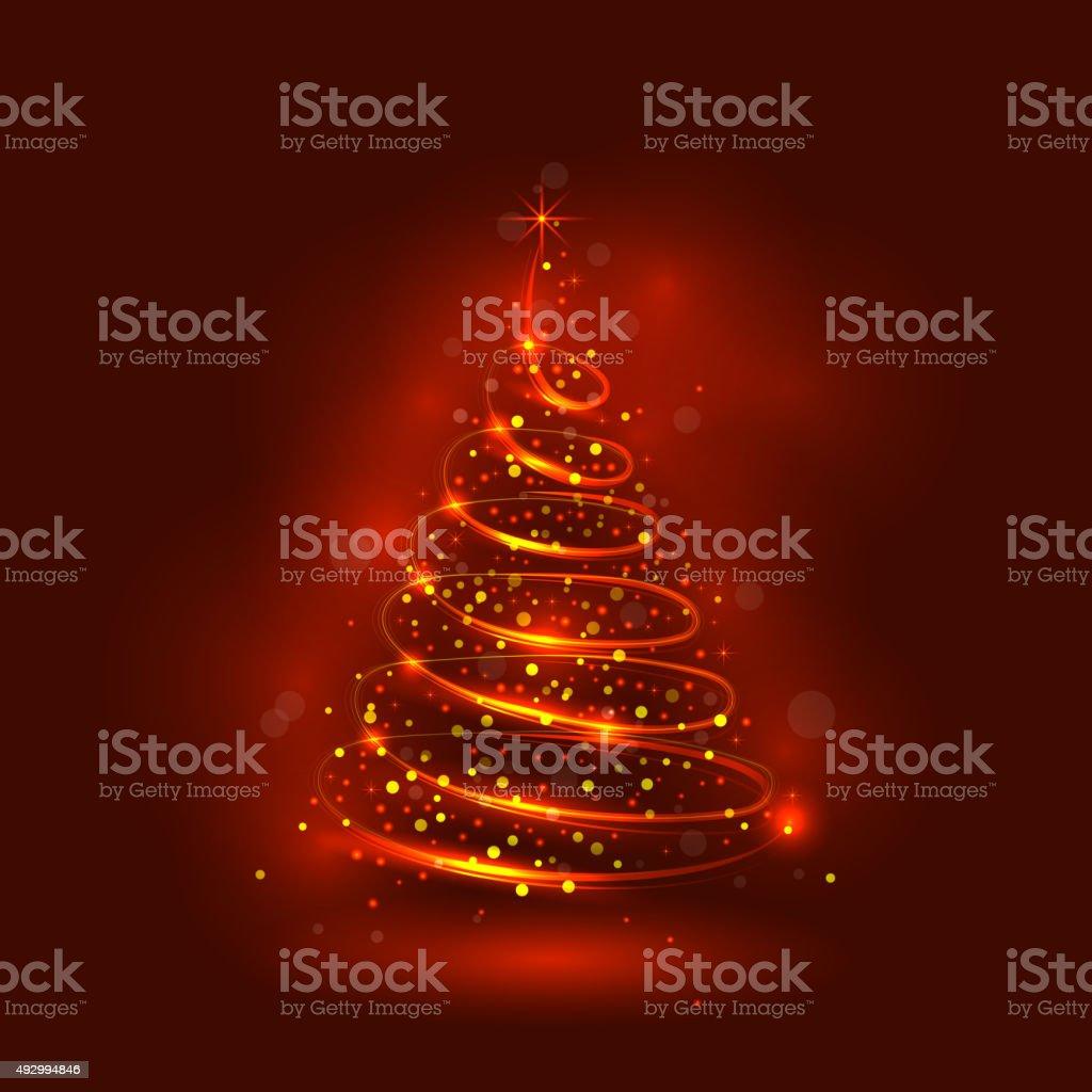 Shining christmas tree, the magic christmas tree vector art illustration