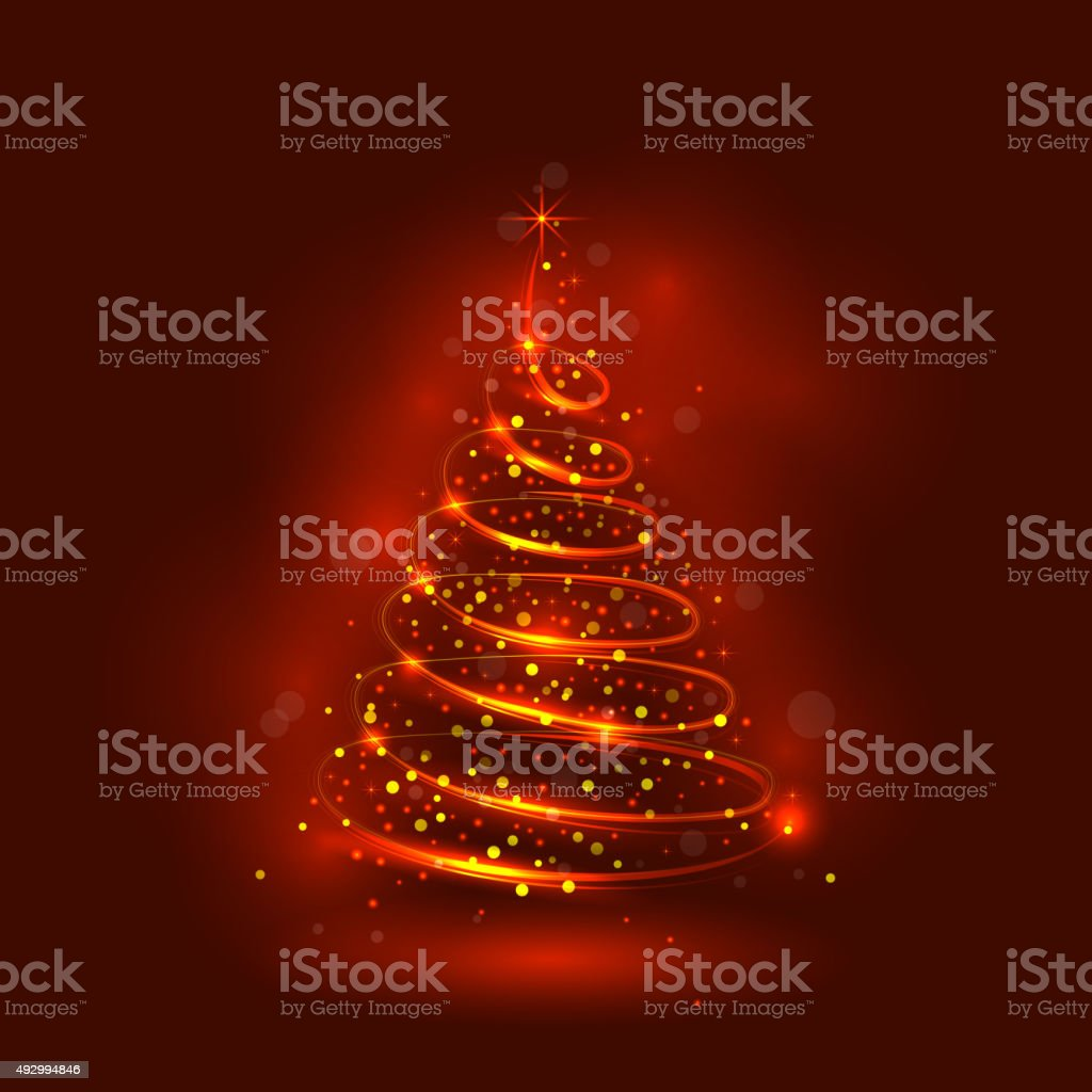Shining christmas tree, the magic christmas tree vector art illustration