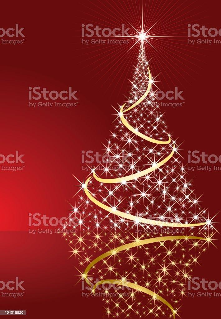 Shining Christmas tree vector art illustration