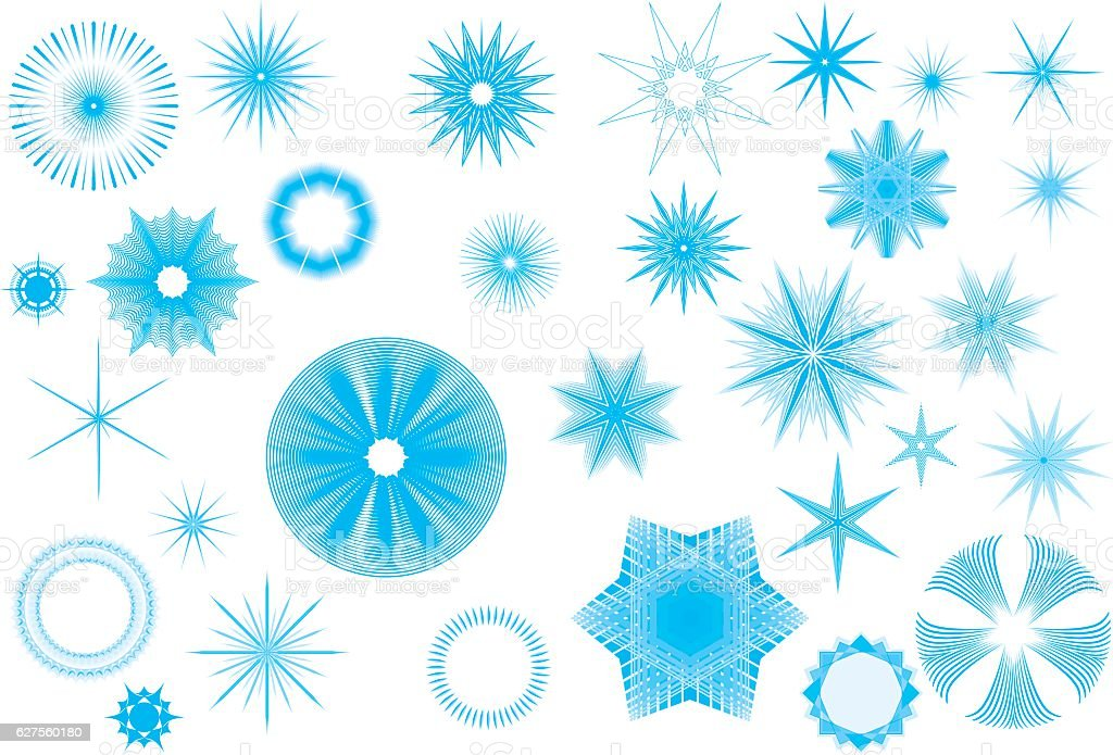 Shining Crystal Stars vector art illustration