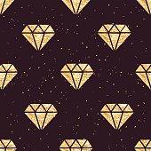 Shining golden foil diamonds seamless vector pattern