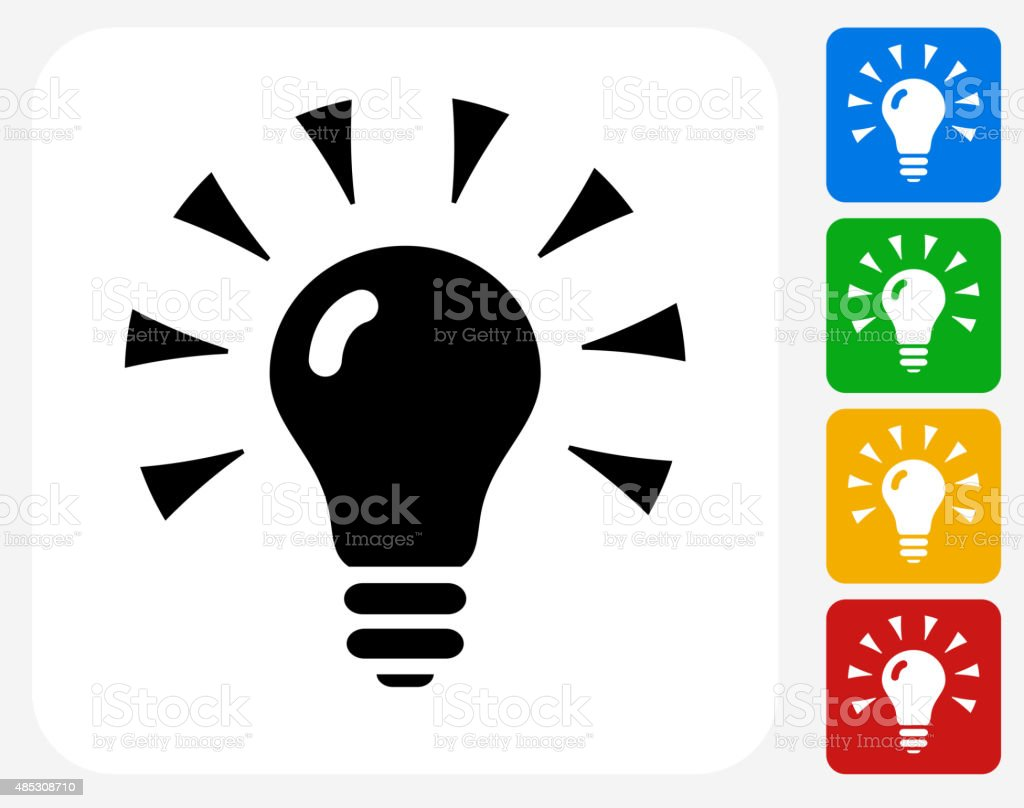 vector square blue icon lighting bulb. shining light bulb icon flat graphic design royaltyfree stock vector art square blue lighting m