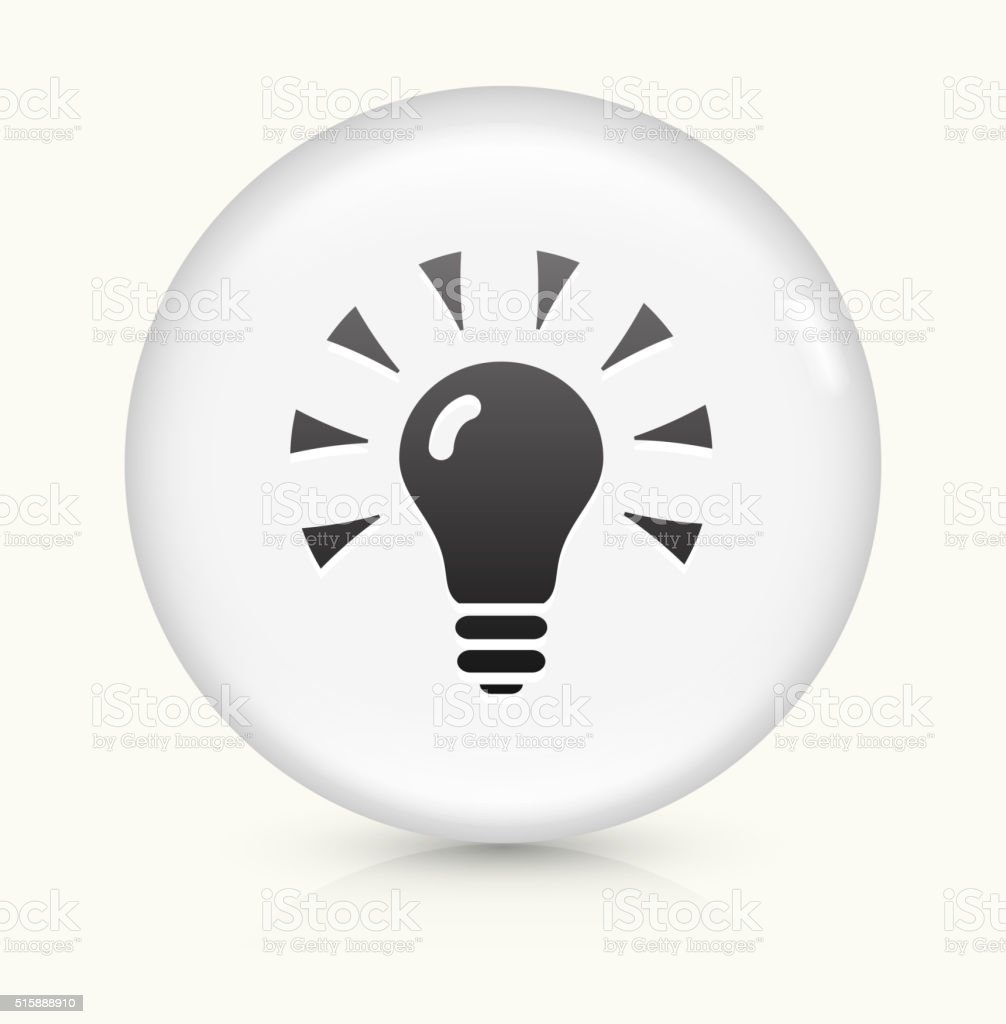 Shining Light Bulb icon on white round vector button vector art illustration