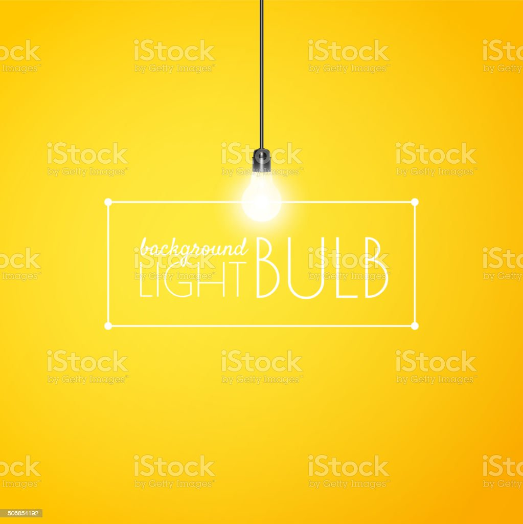Shining light bulb on a yellow background with copy space vector art illustration