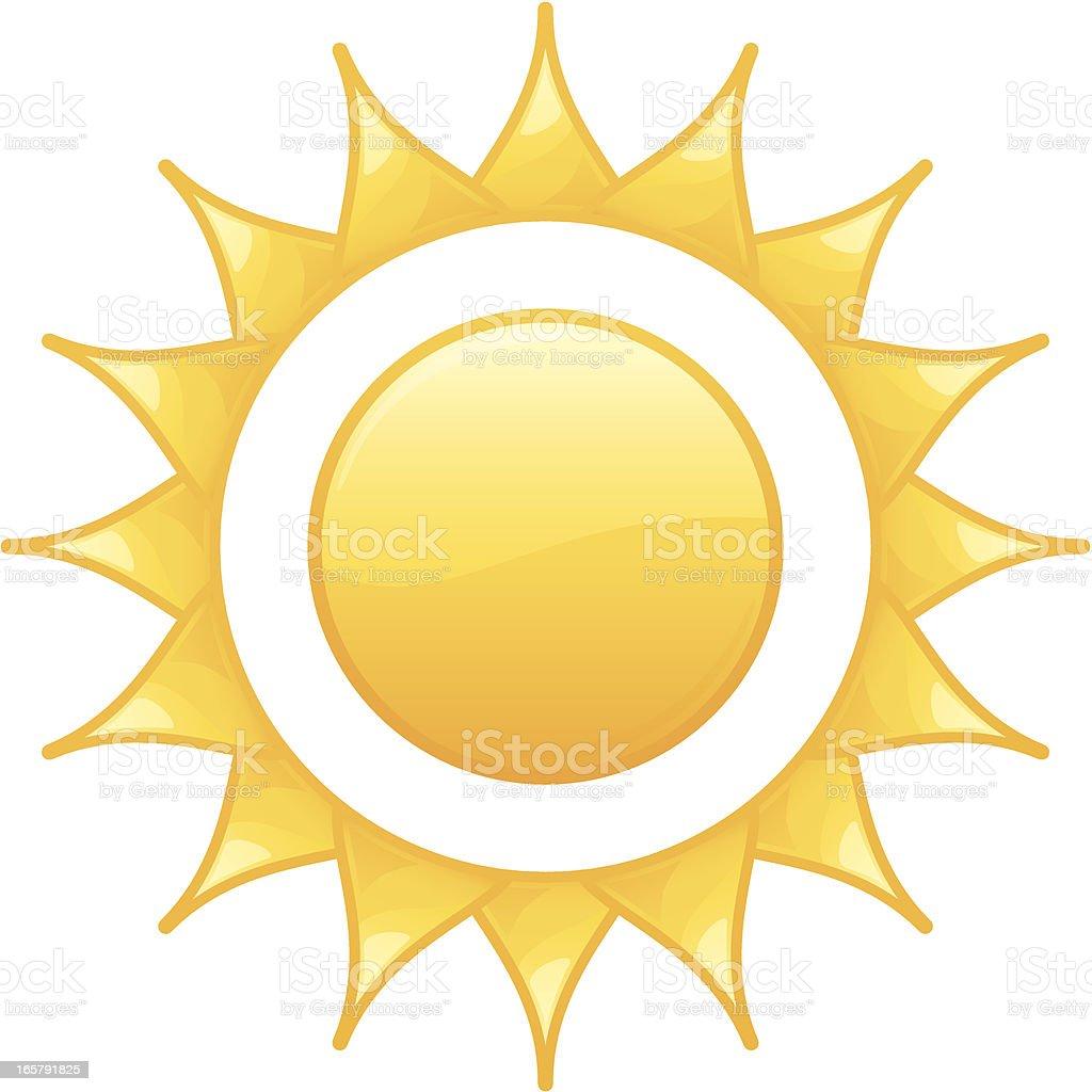 Shining Radiant Yellow Summer Sun Vector Illustration royalty-free stock vector art