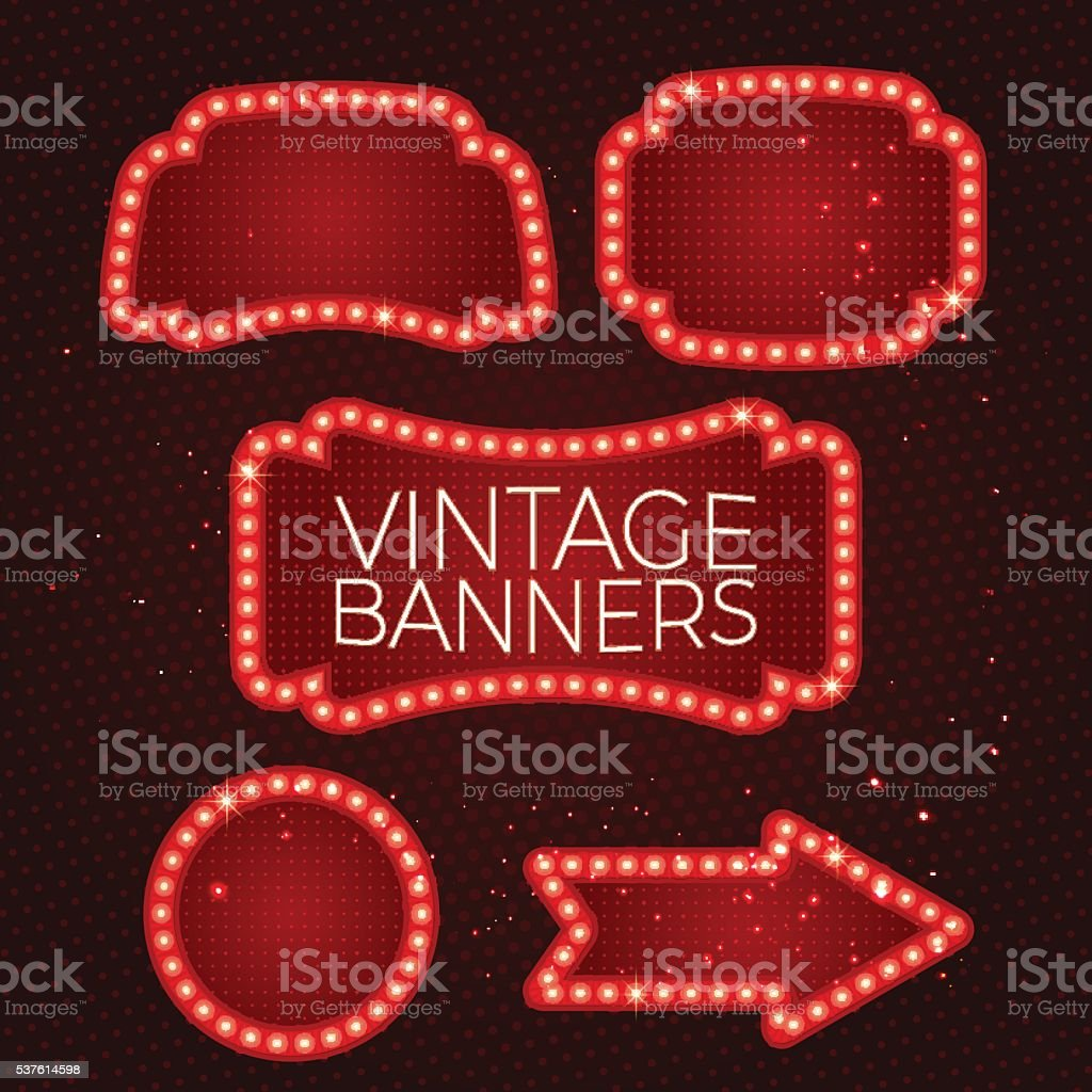 Shining retro banner with lights. vector art illustration