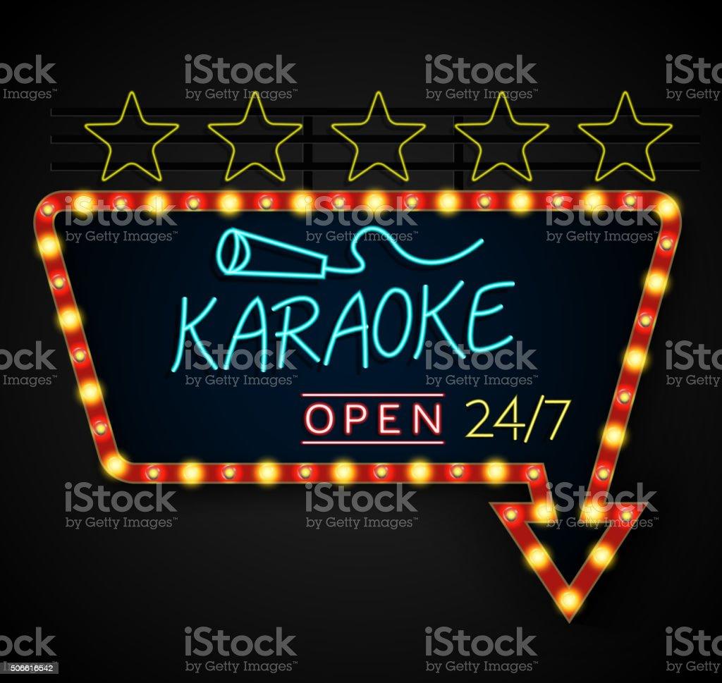 Shining retro light banner karaoke on a black background vector art illustration