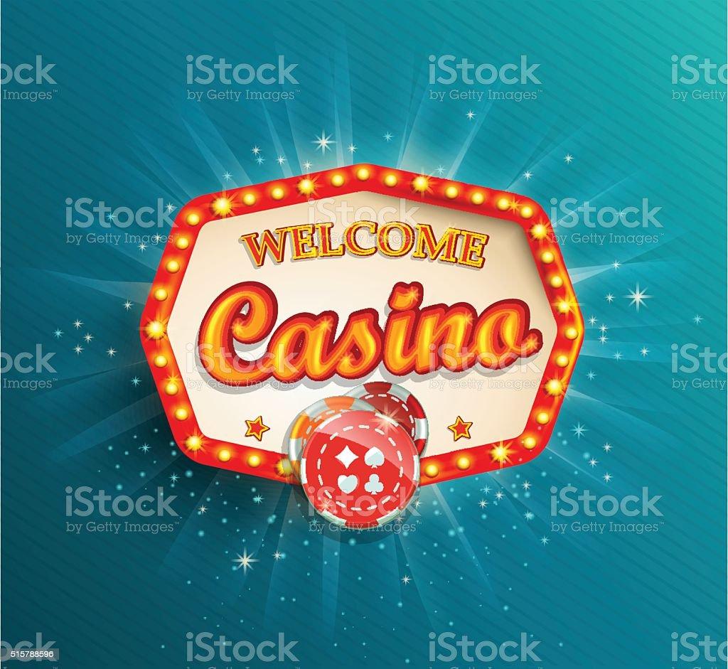 Shining retro light frame Casino. vector art illustration