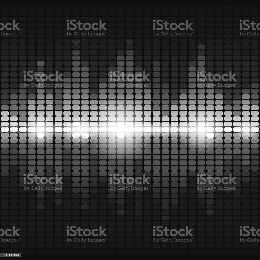 Shining silver digital equalizer background with flares vector art illustration