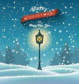 Shining vintage lamp in winter forrest, chritmas theme, illustration