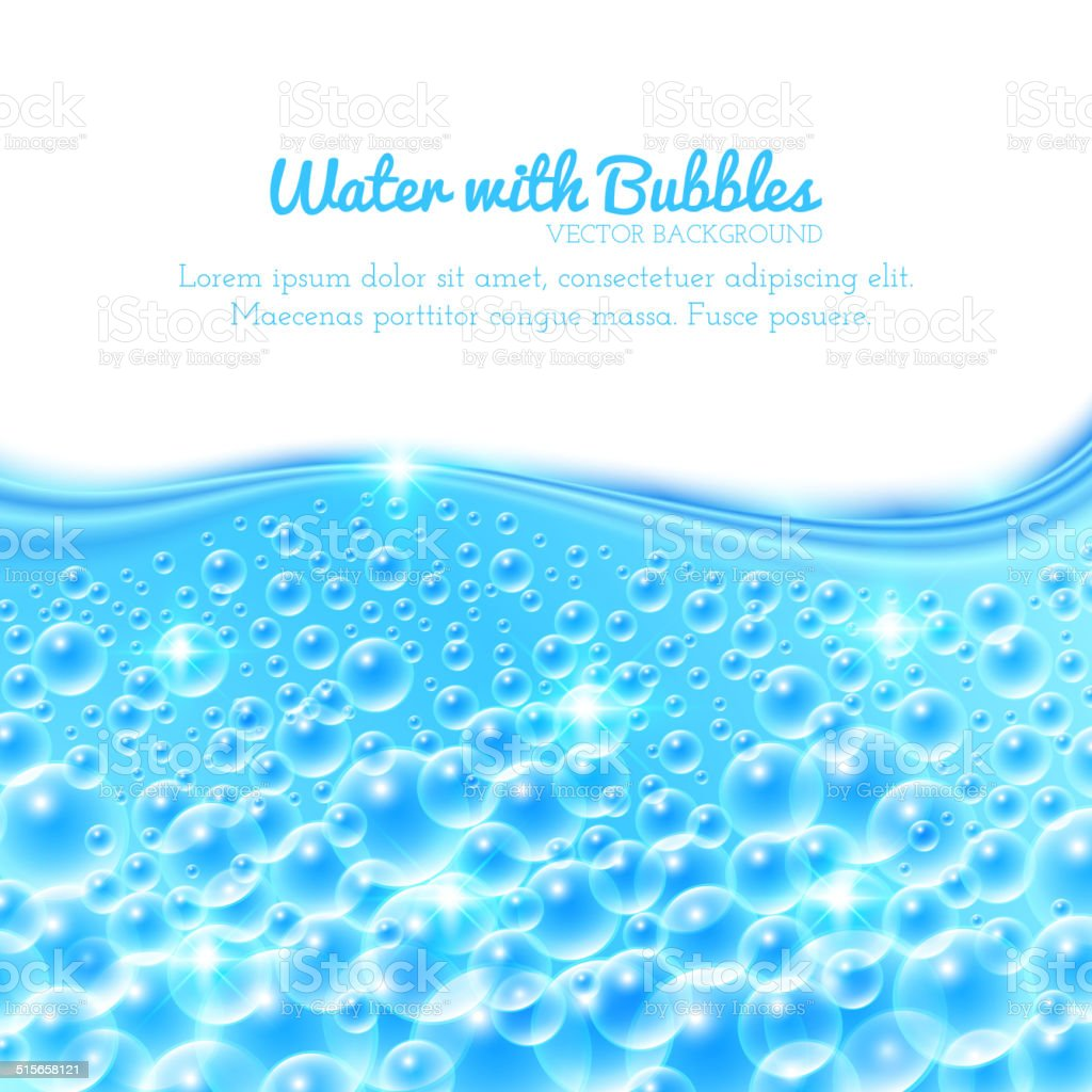 Shining Water Background with Bubbles vector art illustration