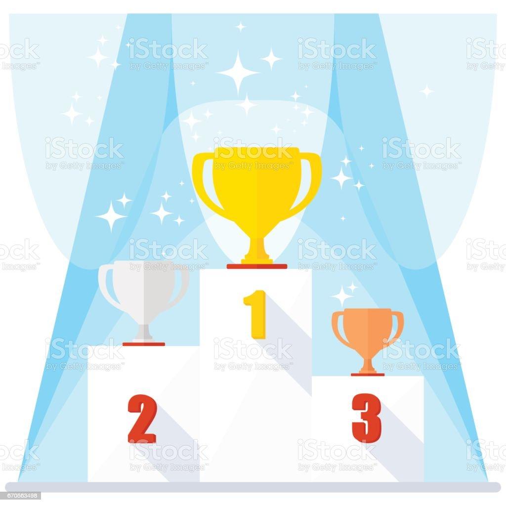 shining winner podium vector art illustration