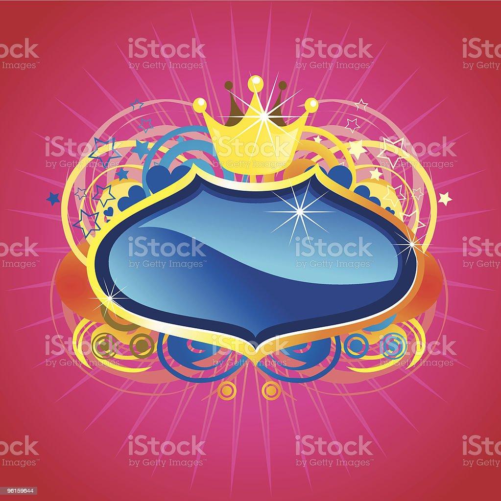 shinning blue crest vector art illustration