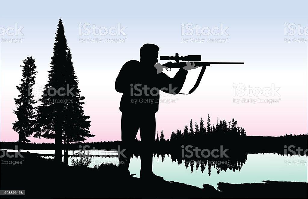 Shinning Lake Hunter vector art illustration