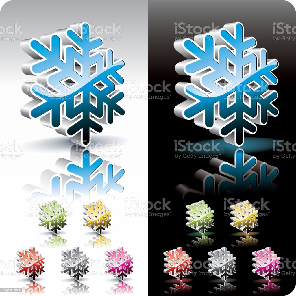 Shiny 3d snowflake symbol set. royalty-free stock vector art
