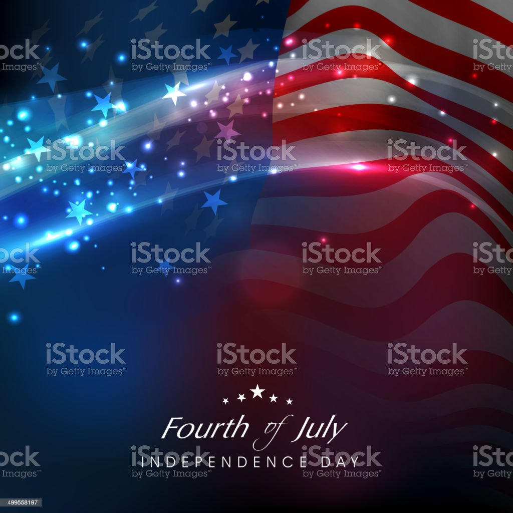 Shiny American flag waving for 4th July celebrations. vector art illustration