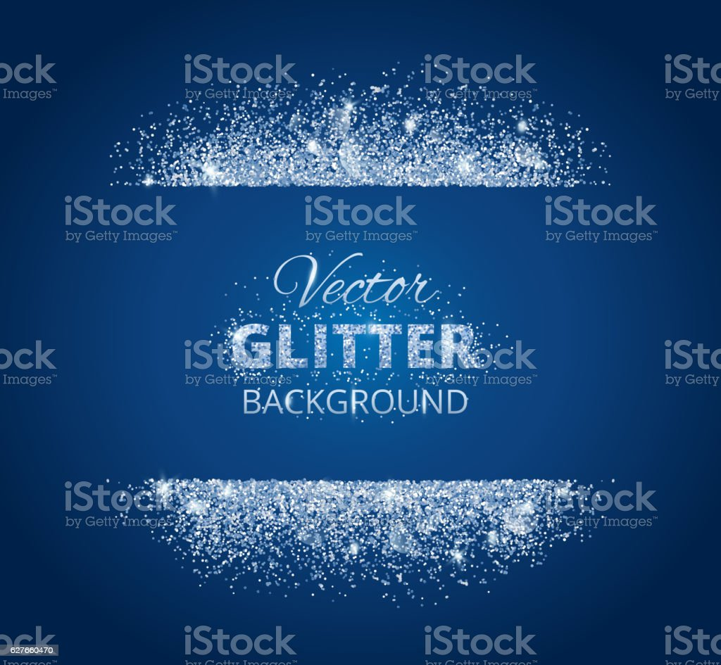 Shiny background with glitter frame and space for text vector art illustration