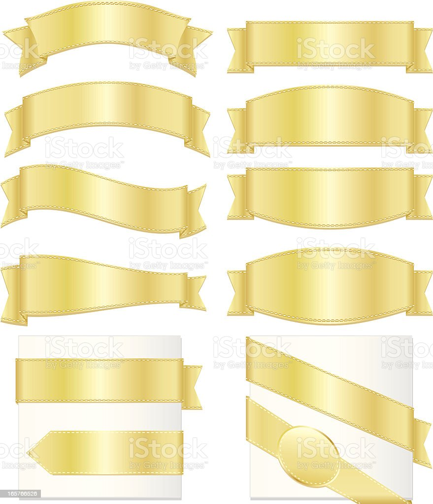 Shiny Banners, Ribbons, Stickers, Corners Set: Metallic Gold royalty-free stock vector art