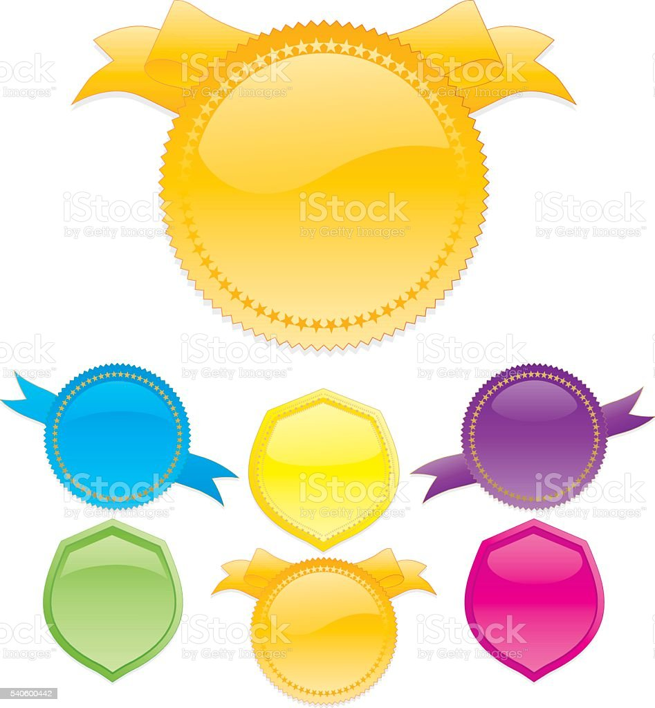 Shiny Banners, Ribbons, Stickers Set in Bright Colors vector art illustration