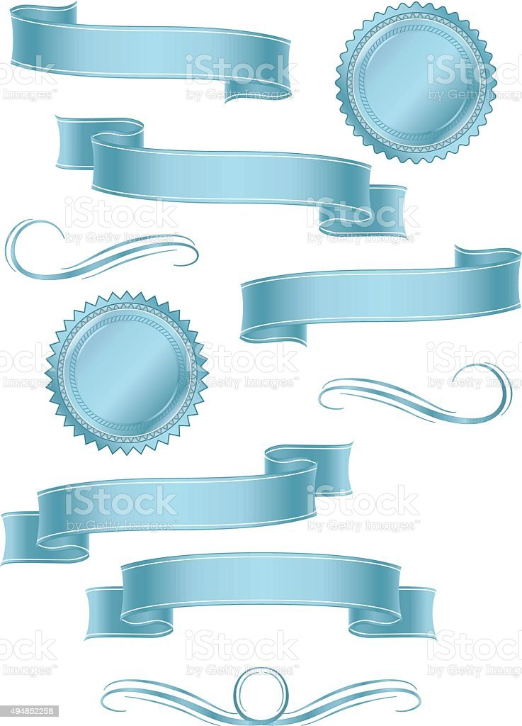 Shiny Banners, Ribbons, Stickers Set: Light Blue Metallic Satin vector art illustration
