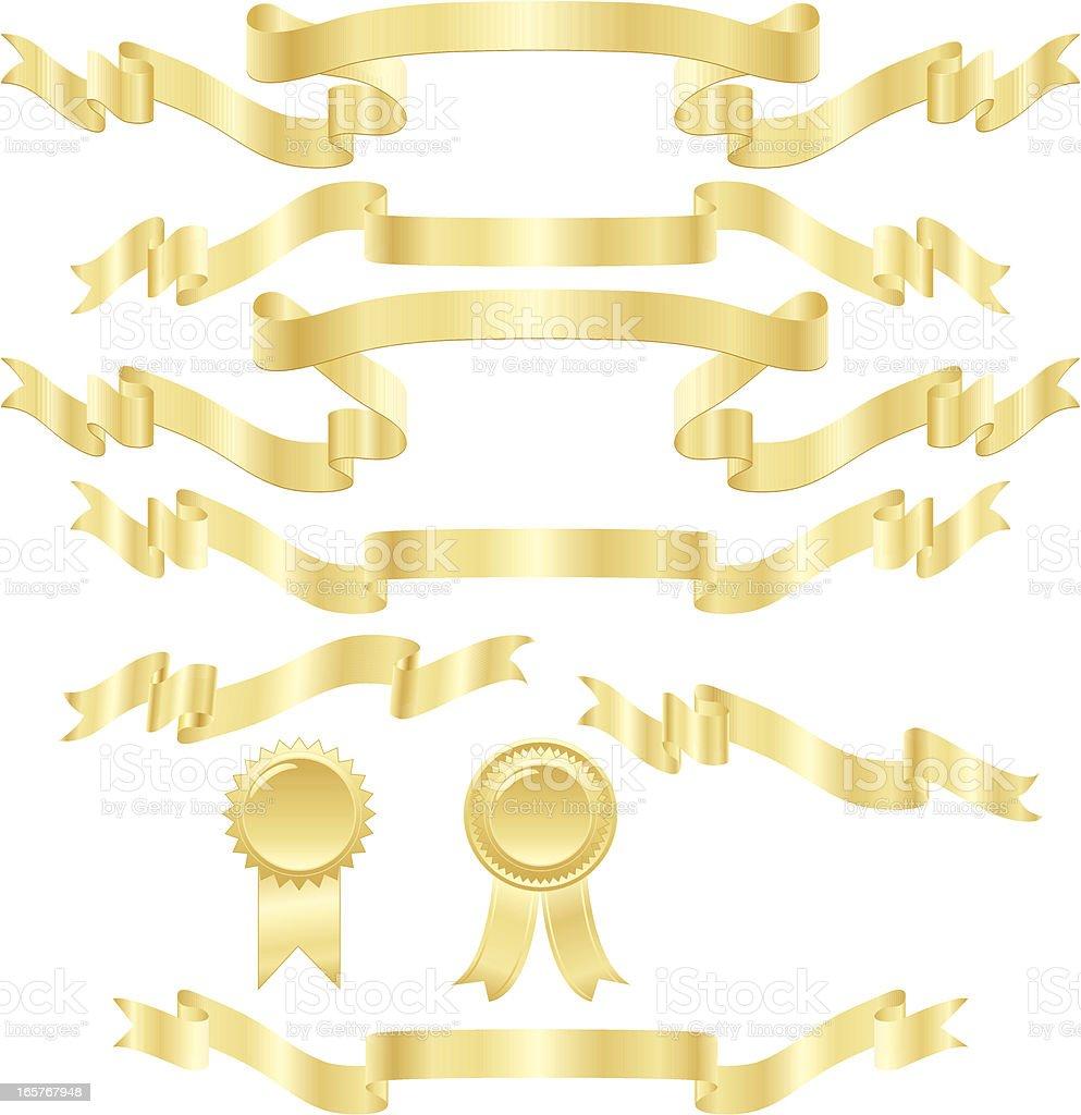 Shiny Banners, Ribbons, Stickers Set: Metallic Gold vector art illustration