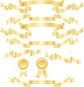 Shiny Banners, Ribbons, Stickers Set: Metallic Gold