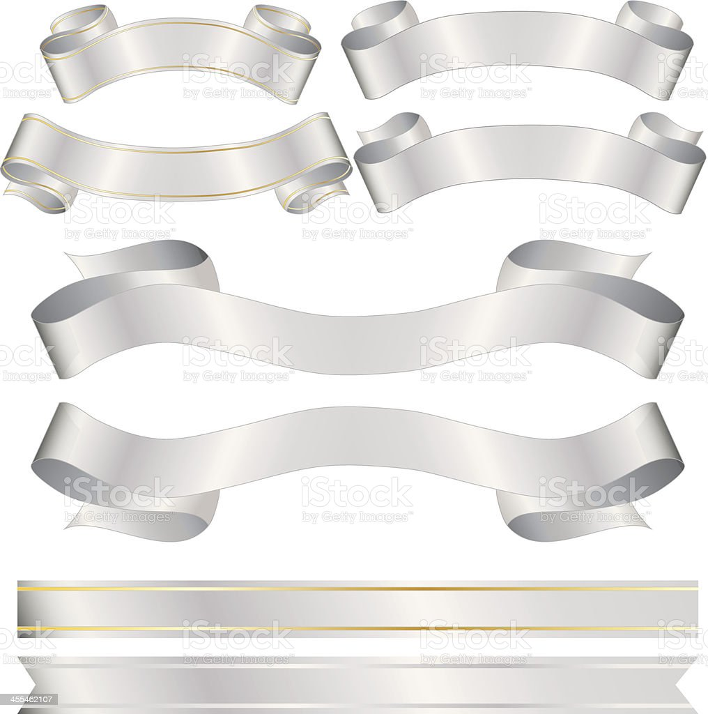 Shiny Banners, Ribbons, Stickers Set: Silver, Gold Metallic Satin vector art illustration
