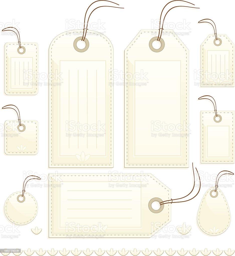 Glänzende Beige Gesteppte Geschenk, Preis oder Gepäckschilder, Aufkleber Lizenzfreies vektor illustration