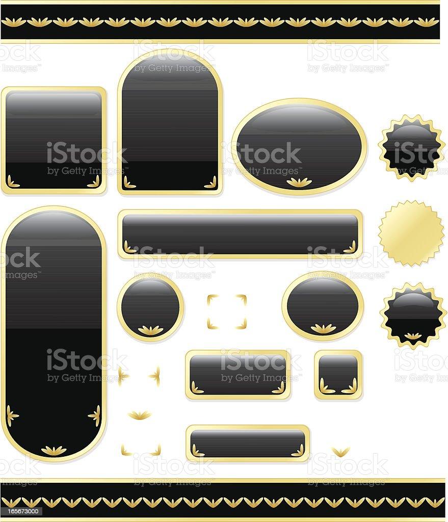 Shiny Blank Icons Set - Black and Metallic Gold royalty-free stock vector art