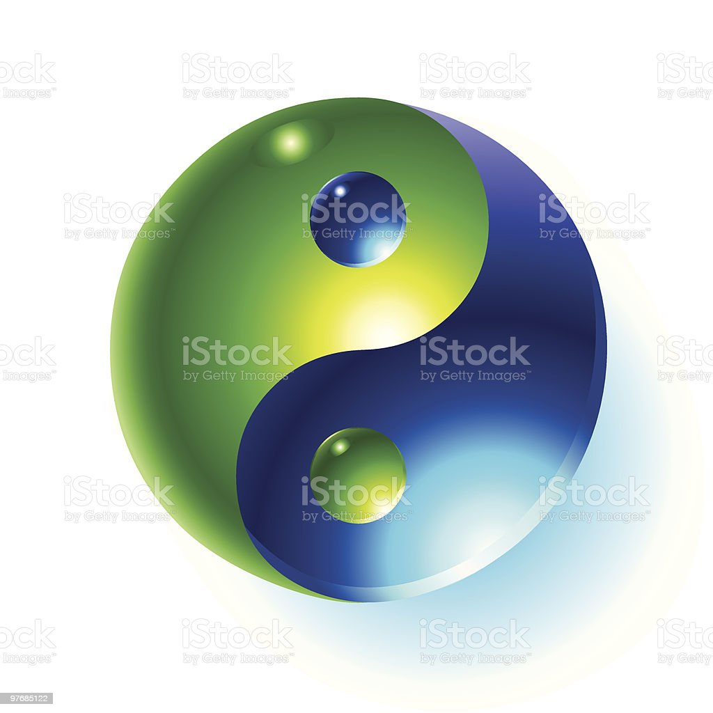 A shiny blue and green yin yang symbol on a white background royalty-free stock vector art