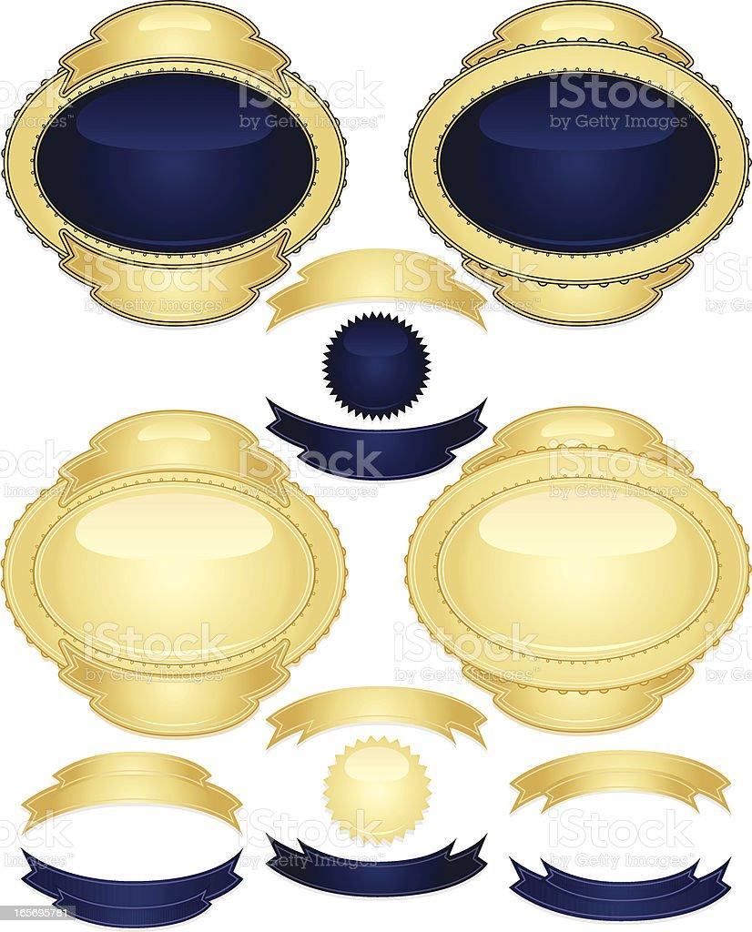 Glänzend Blau und Gold-Design-Elemente, Bänder, Aufkleber Set Lizenzfreies vektor illustration