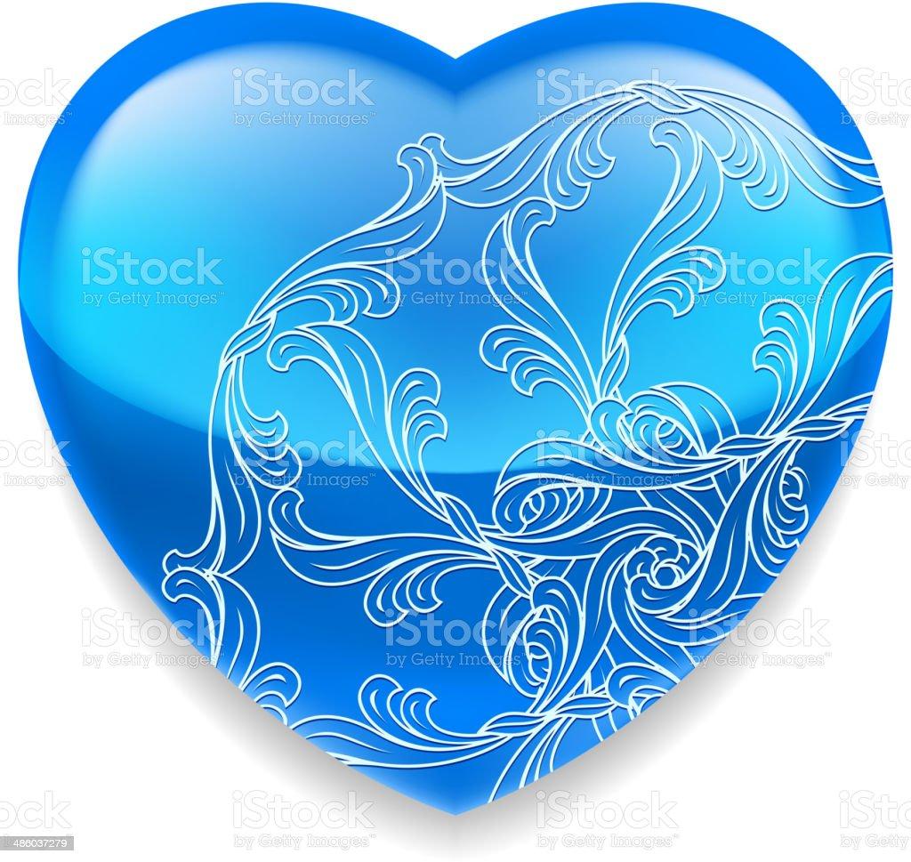 Shiny blue heart with decor vector art illustration