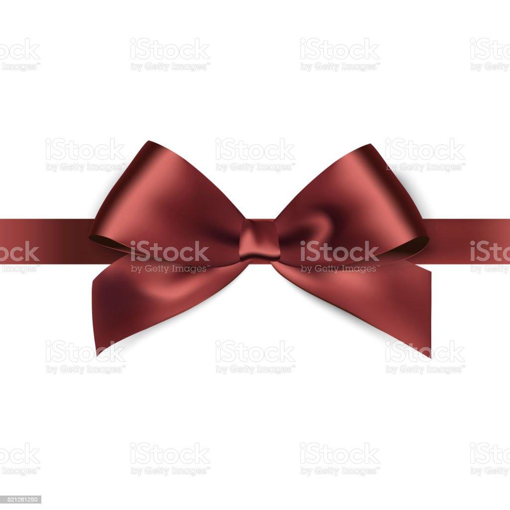 Shiny brown satin ribbon on white background vector art illustration