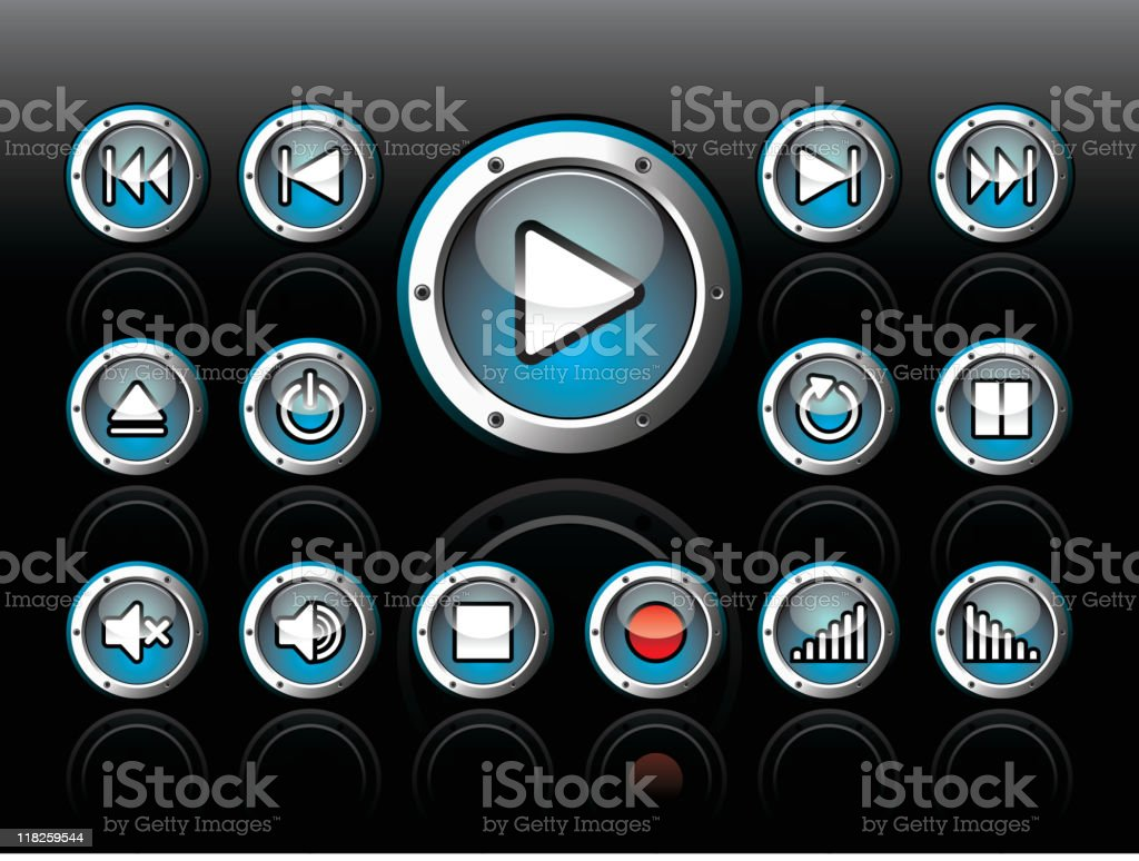 Shiny button set for musical theme on a dark background. royalty-free stock vector art