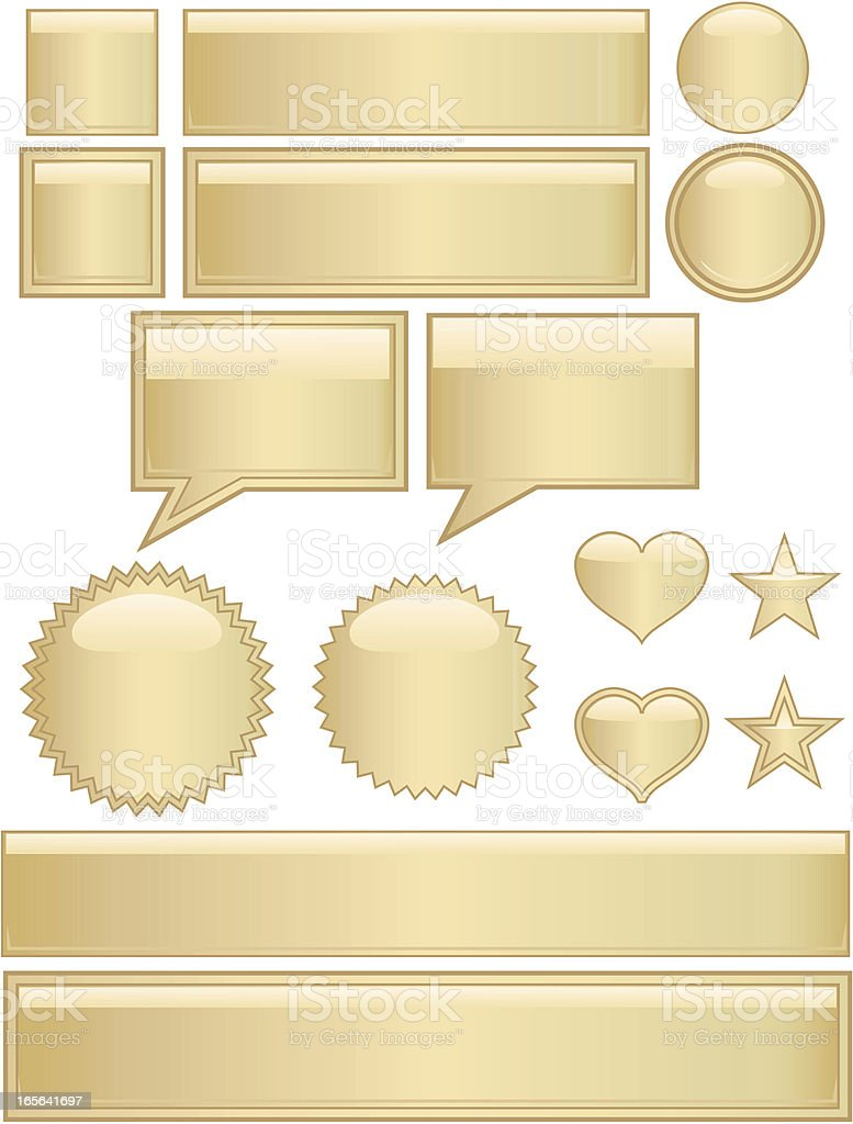 Glänzend Schaltflächen, Symbole und Aufkleber-Set-Gold Lizenzfreies vektor illustration