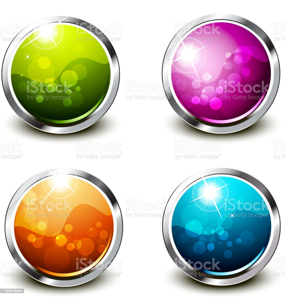 Shiny Buttons Set - Round royalty-free stock vector art
