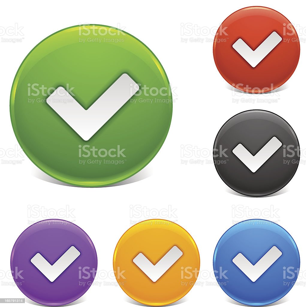 Shiny Buttons | Tick Mark royalty-free stock vector art