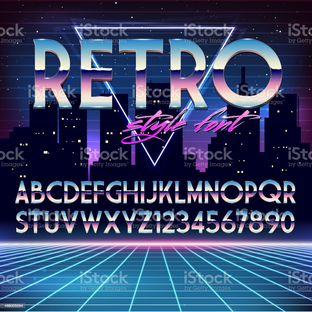 Shiny Chrome Alphabet in 80s Retro Futurism style vector art illustration
