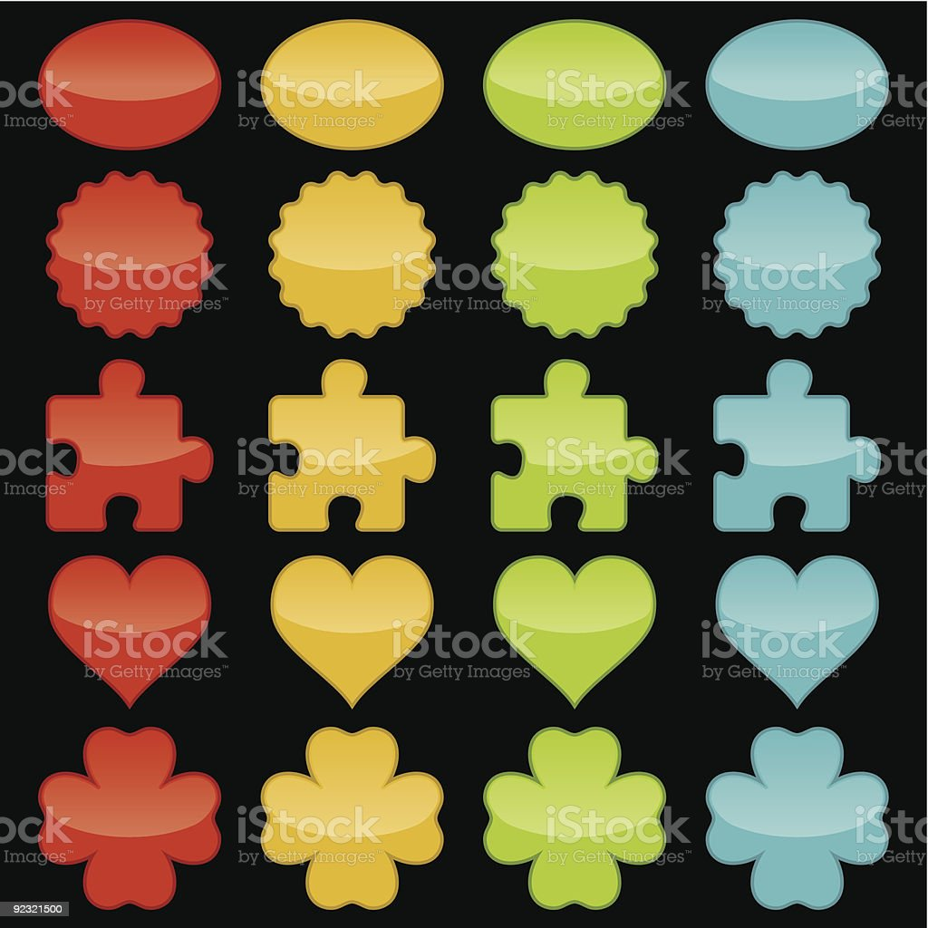 Shiny Colored Buttons Collection royalty-free stock vector art