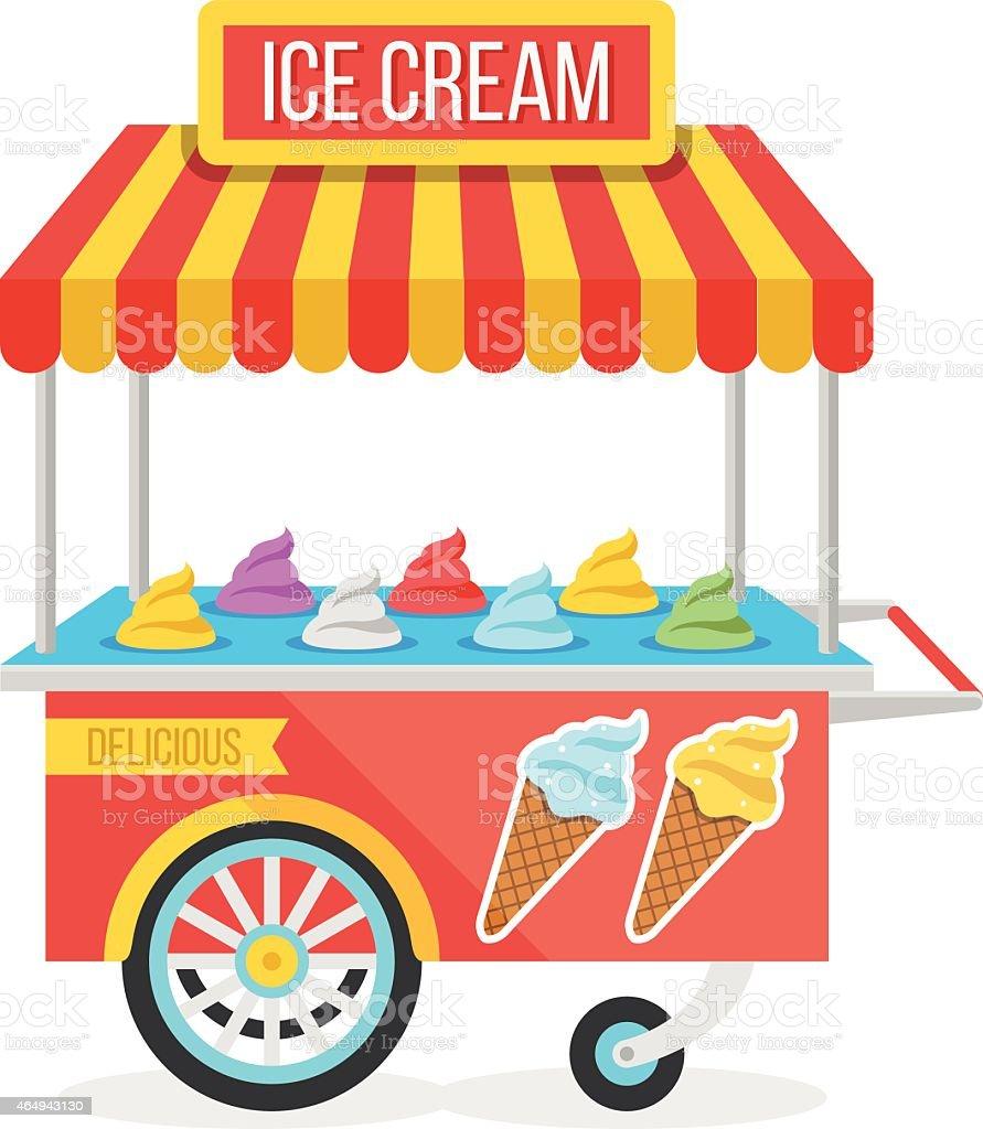 Shiny colorful ice cream cart vector illustration vector art illustration