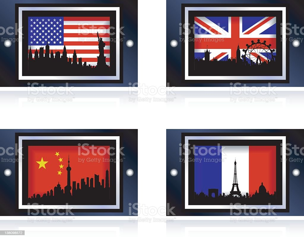 Shiny Country Icons royalty-free stock vector art