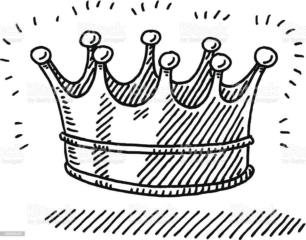 Shiny Crown Symbol Drawing vector art illustration